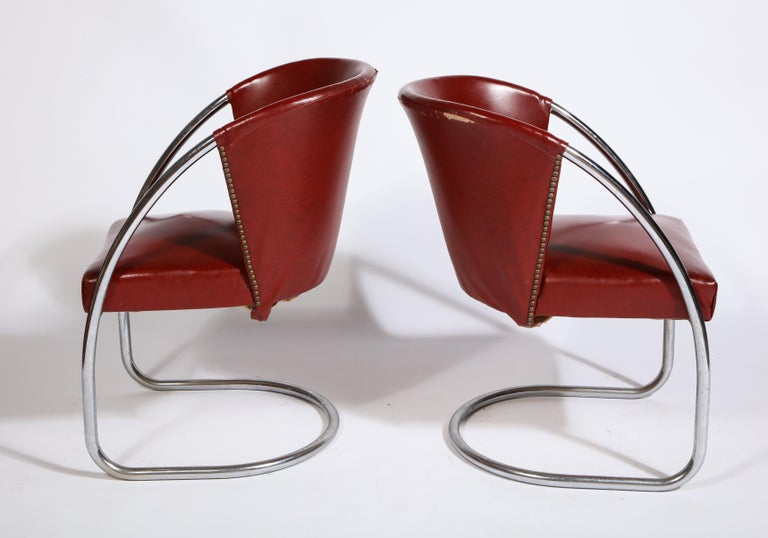 Art Deco Midcentury Jacques Adnet Set Chrome Chairs and Table, France, 1932 For Sale