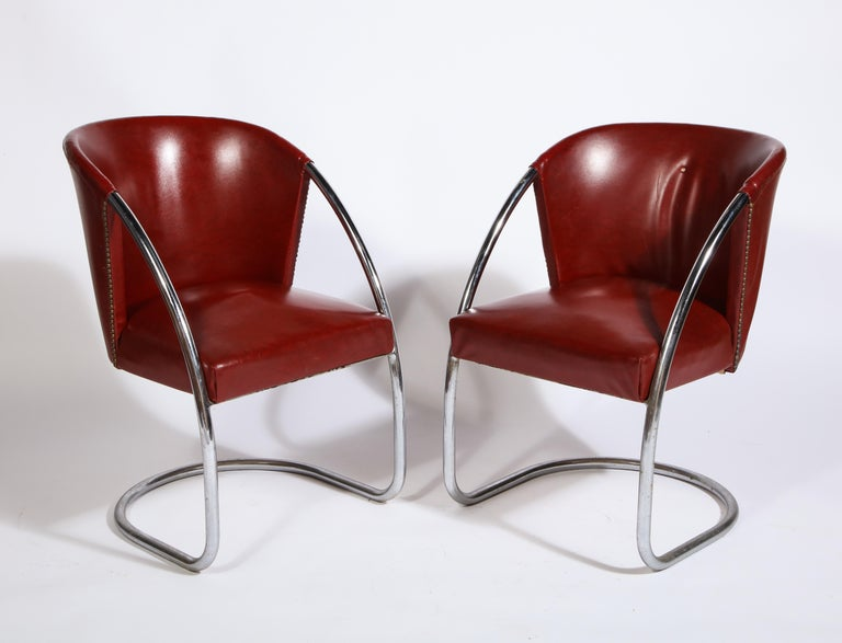 French Midcentury Jacques Adnet Set Chrome Chairs and Table, France, 1932 For Sale