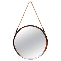 Mid-Century Jacques Adnet Style Teak Mirror