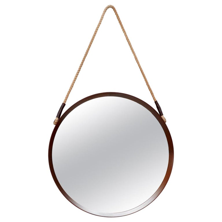 Mid-Century Jacques Adnet Style Teak Mirror For Sale