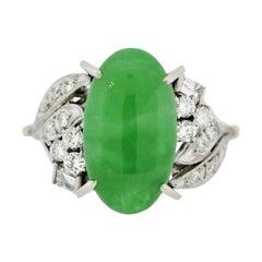 Mid-Century Jadeite Jade Diamond Platinum Ring, GIA Certified