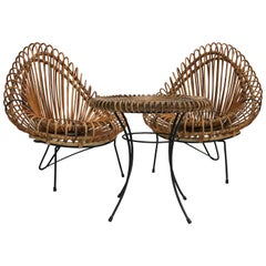 Mid-Century Janine Abraham and Dirk Jan Rol Wicker Basketware  Lounge Chairs