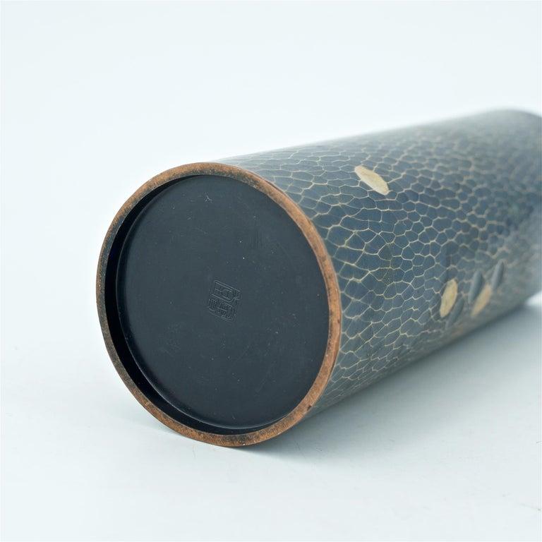 Midcentury Japanese Bronze Hammered Polka-Dotted Vase Meiji Nanbu Cabin Modern For Sale 2