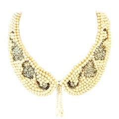 """Mid-Century Japanese Faux Pearl Peter Pan """"Swan"""" Collar Necklace"""