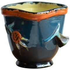 Midcentury Japanese Style Blue Ceramic Flowerpot, Hand Painted