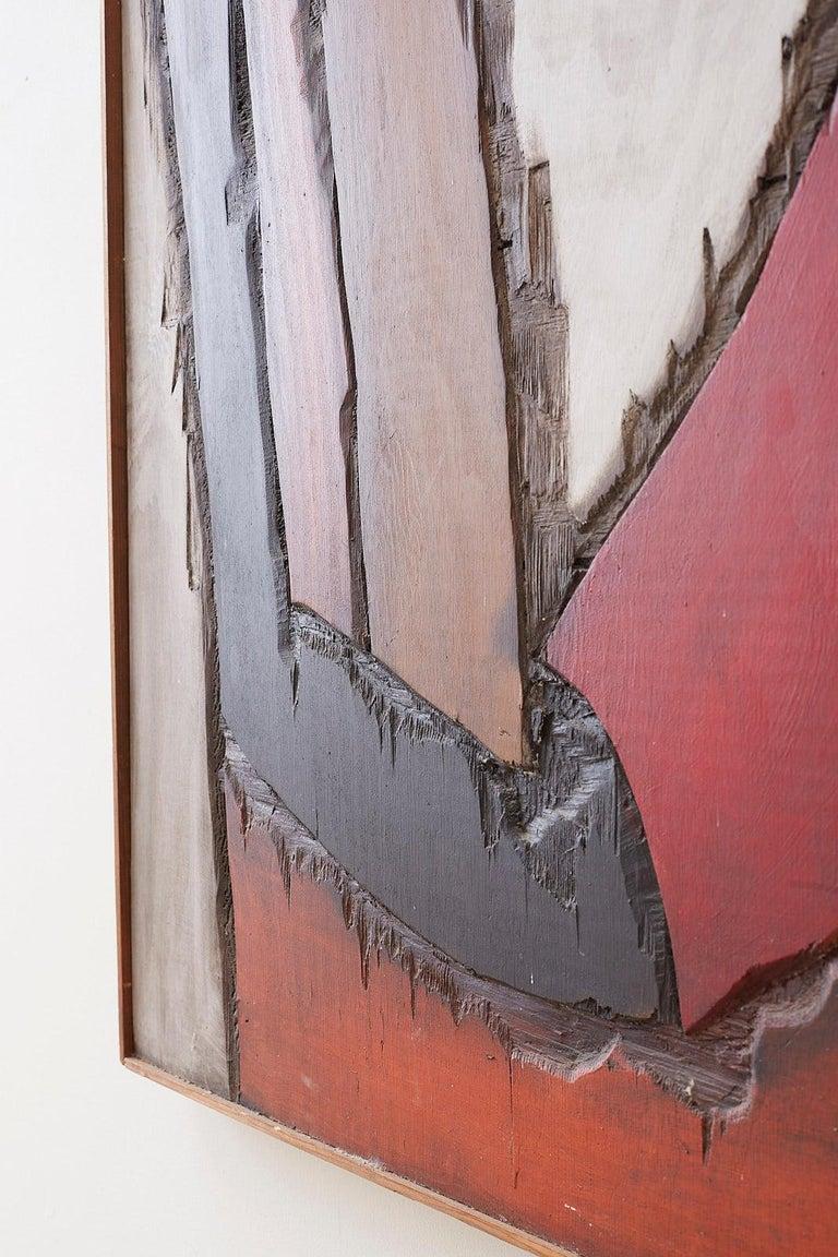 Midcentury Jean-Claude Gaugy Painting Wood Relief Sculpture For Sale 9