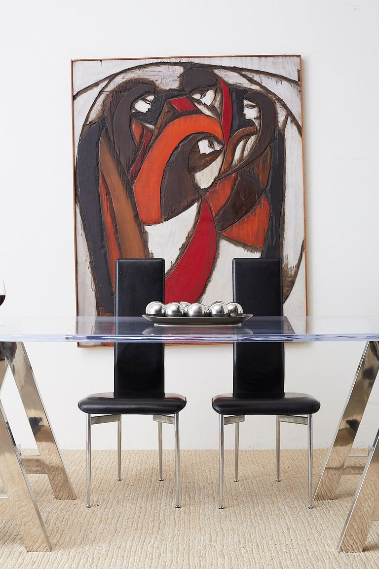 Large midcentury modernist painted wood relief sculptured or carving by Jean-Claude Gaugy (French b. 1944). wall-mounted wood sculpture depicting an abstract image of four women. Signed bottom right with a natural wood finish border. Gaugy comes