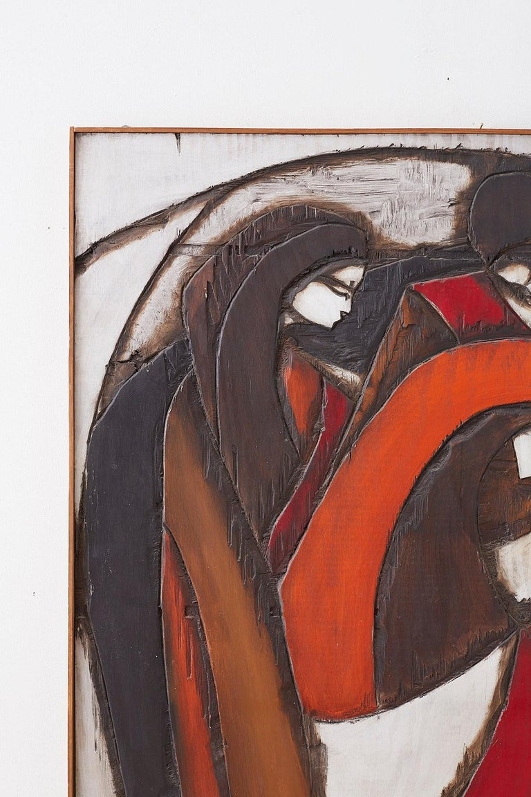 Mid-Century Modern Midcentury Jean-Claude Gaugy Painting Wood Relief Sculpture For Sale