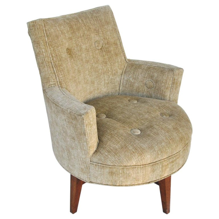 Midcentury Jens Risom Style Swivel Lounge Chair For Sale