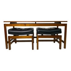 Mid Century Jens Risom Walnut Console Table and Benches
