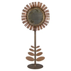 Mid Century Jere Style Flower Sculpture with Mirror