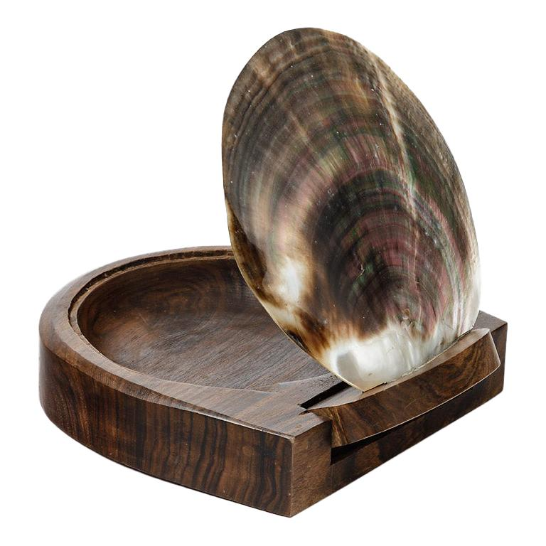 Midcentury Jewelry Wood and Shelf Box circa 1950 Attributed to Alexandre Noll