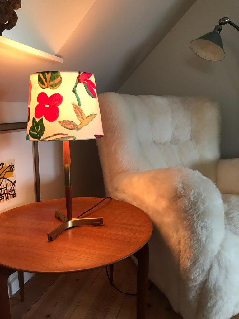 Midcentury Jo Hammerborg President Table Lamp for Fog & Mørup in Teak and Brass For Sale 4