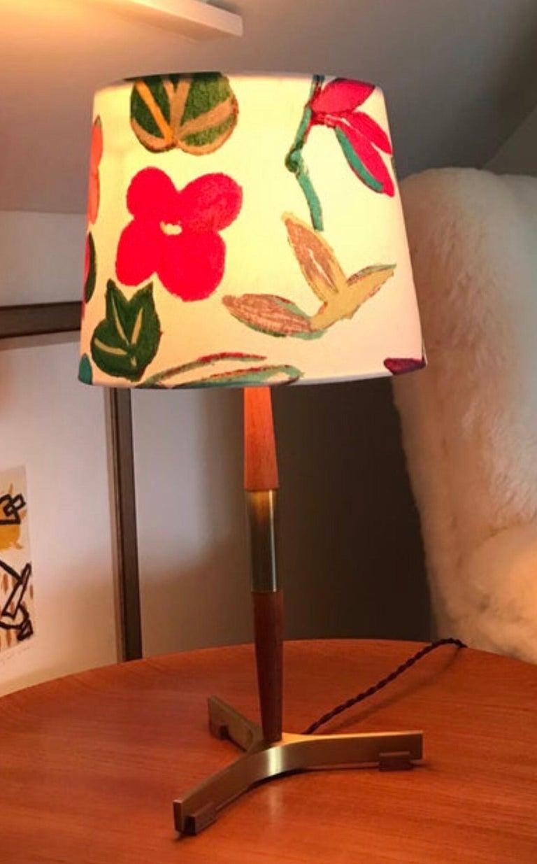 Midcentury Jo Hammerborg President Table Lamp for Fog & Mørup in Teak and Brass For Sale 5