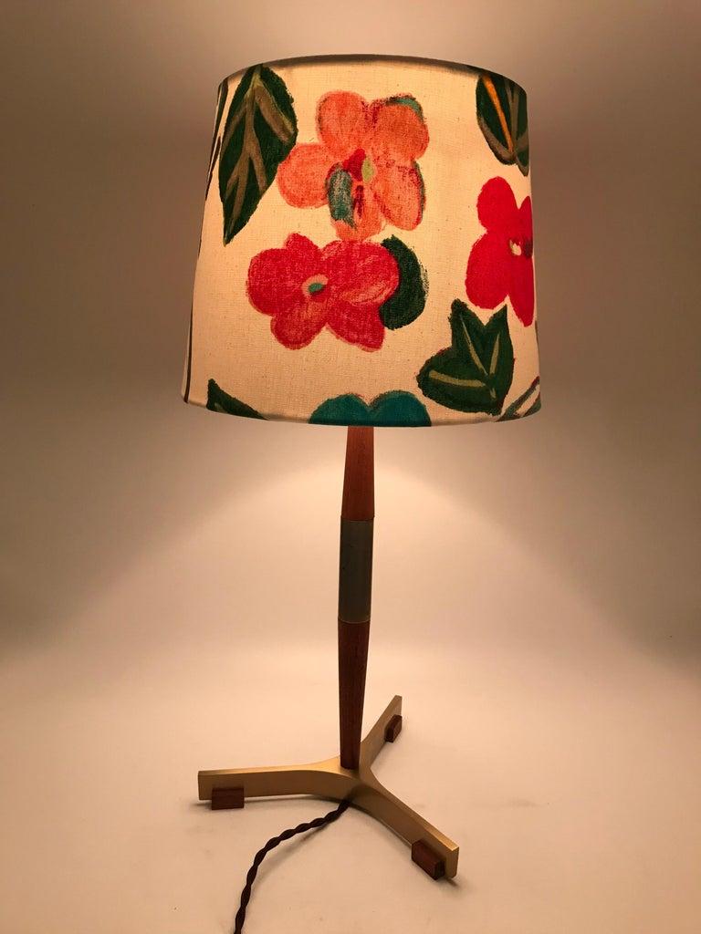 Mid-Century Modern Midcentury Jo Hammerborg President Table Lamp for Fog & Mørup in Teak and Brass For Sale