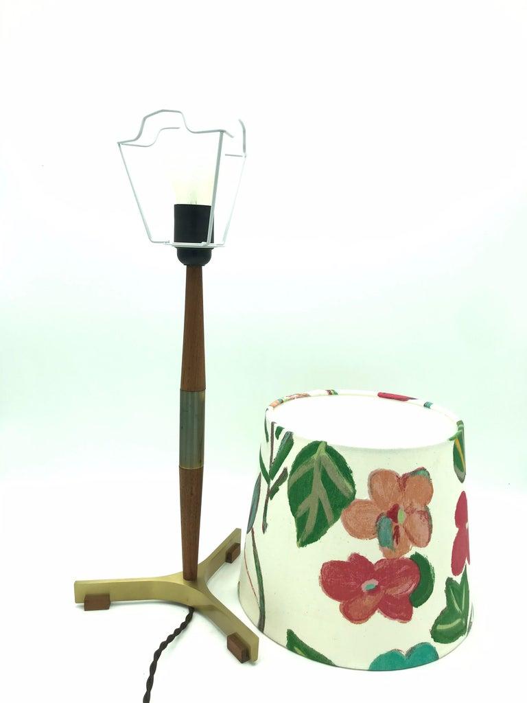 Mid-20th Century Midcentury Jo Hammerborg President Table Lamp for Fog & Mørup in Teak and Brass For Sale