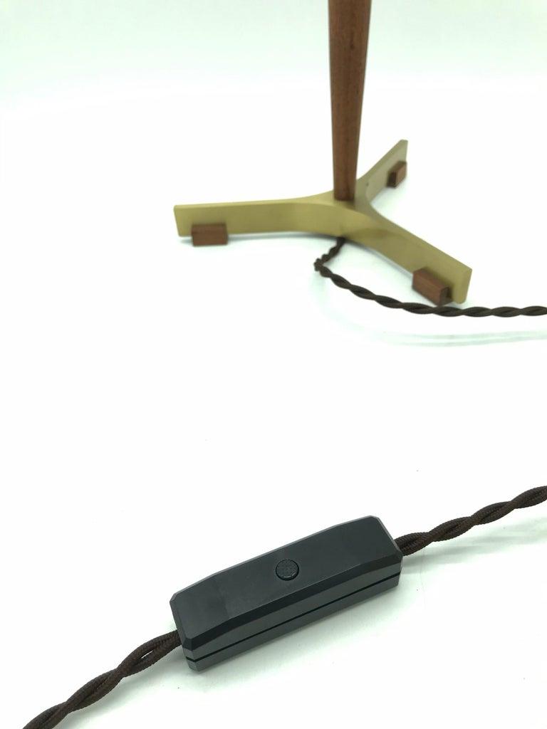 Midcentury Jo Hammerborg President Table Lamp for Fog & Mørup in Teak and Brass For Sale 1