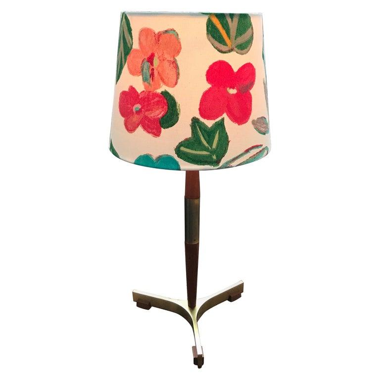 Midcentury Jo Hammerborg President Table Lamp for Fog & Mørup in Teak and Brass For Sale