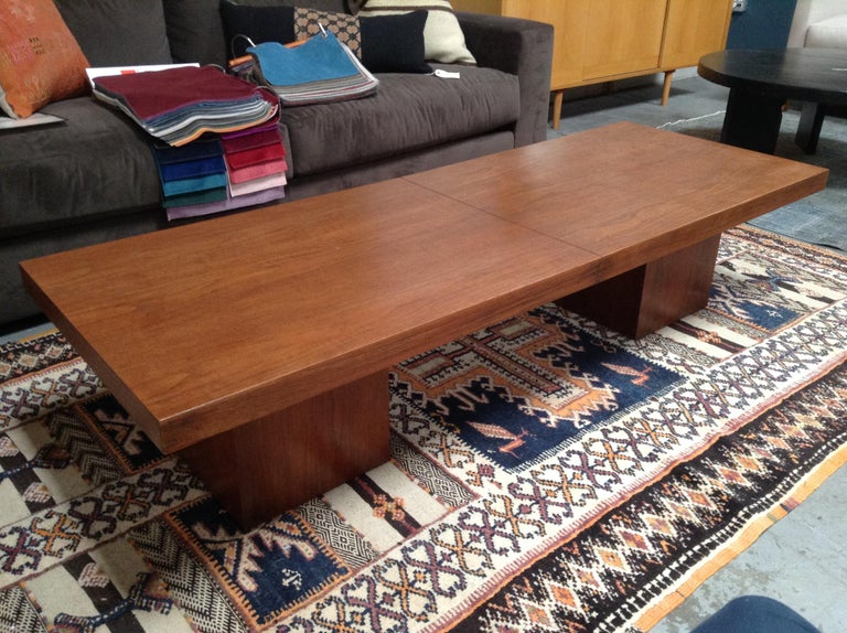 Beautiful midcentury long wood coffee table, smooth matte finish, extendable with centre runner.
