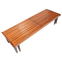 4.5 to 7 FT Midcentury John Keal for Brown Saltman Slat Expandable Bench
