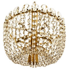 Midcentury Kalmar Brass Cut Crystal Chandelier Rondino Made in Austria, 1950s