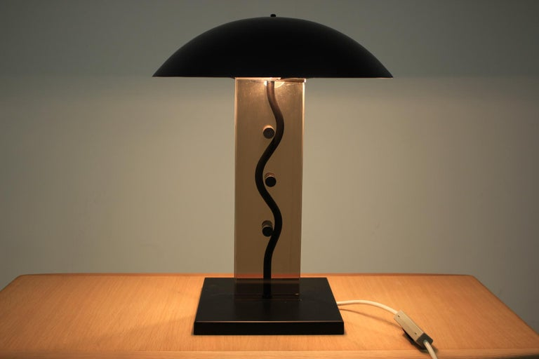 Metal Midcentury Kamenický Šenov Design Table Lamp, 1980s For Sale