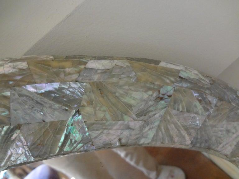 Hollywood Regency Midcentury Karl Springer Inspired Abalone Mirror For Sale