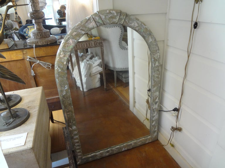 Late 20th Century Midcentury Karl Springer Inspired Abalone Mirror For Sale