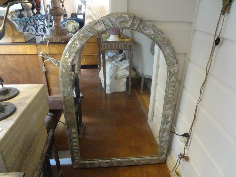 Brass Midcentury Karl Springer Inspired Abalone Mirror For Sale