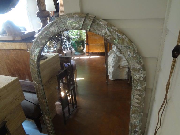 Midcentury Karl Springer Inspired Abalone Mirror For Sale 1