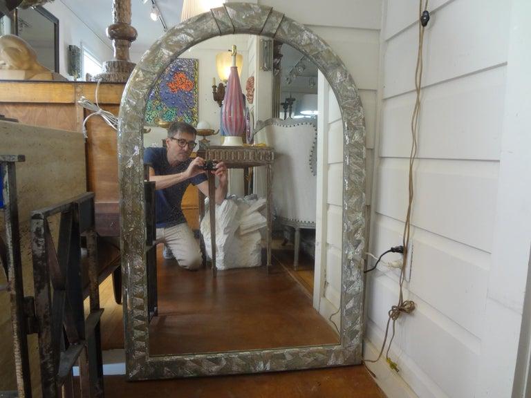 Midcentury Karl Springer Inspired Abalone Mirror For Sale 2