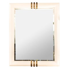 Mid Century Karl Springer Style White Wood Rectangular Mirror with Brass Accents