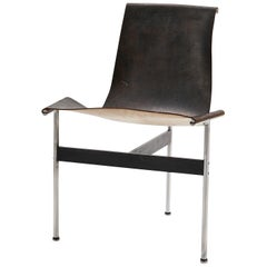 Mid Century Katavalos for Laverne International Steel & Leather 'T-chair'