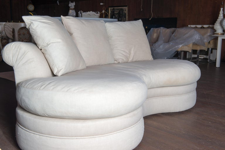 Upholstery Midcentury Kidney Shaped Sofa For Sale