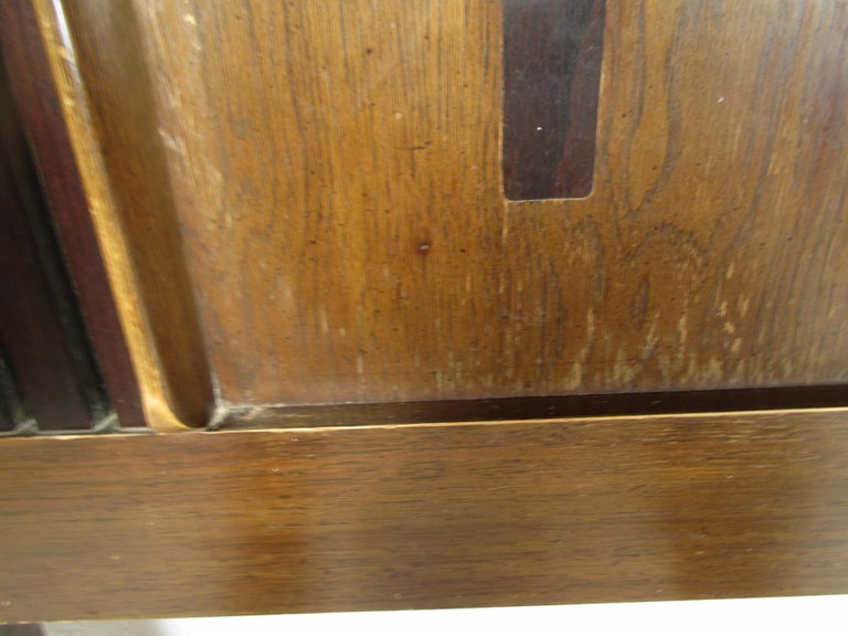 Midcentury King Size Lane Walnut and Rosewood Headboard In Fair Condition For Sale In Brooklyn, NY