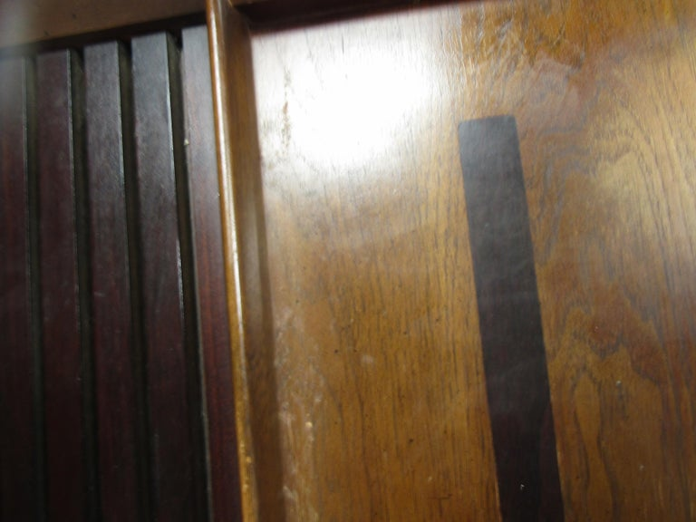 Mid-20th Century Midcentury King Size Lane Walnut and Rosewood Headboard For Sale