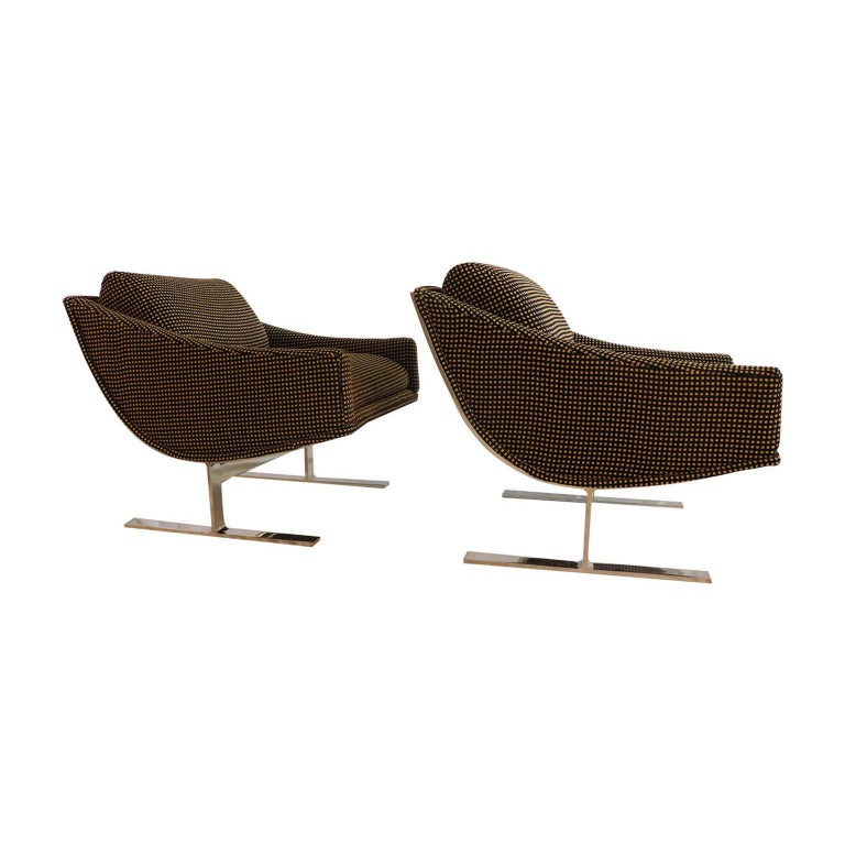 """Midcentury Kipp Stewart """"Arc Lounge Chairs"""" for Directional For Sale 2"""