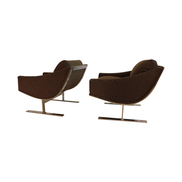"""Mid-Century Modern Midcentury Kipp Stewart """"Arc Lounge Chairs"""" for Directional For Sale"""