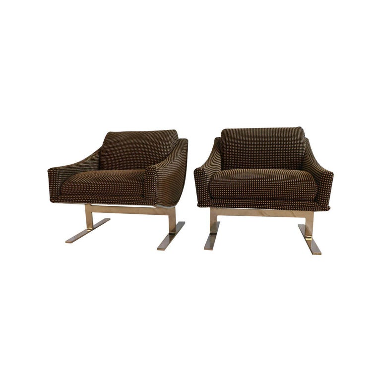 """Midcentury Kipp Stewart """"Arc Lounge Chairs"""" for Directional In Good Condition For Sale In Baltimore, MD"""