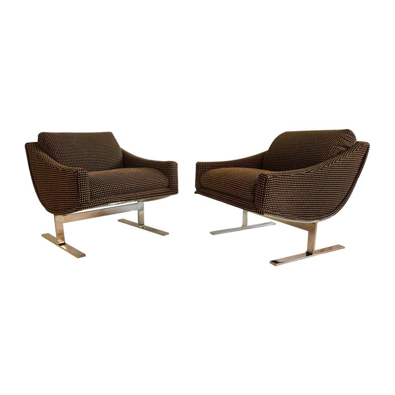 """Midcentury Kipp Stewart """"Arc Lounge Chairs"""" for Directional For Sale"""