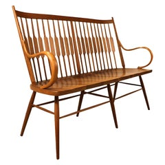 Midcentury Kipp Stewart for Drexel Declaration Walnut Spindle Back Bench