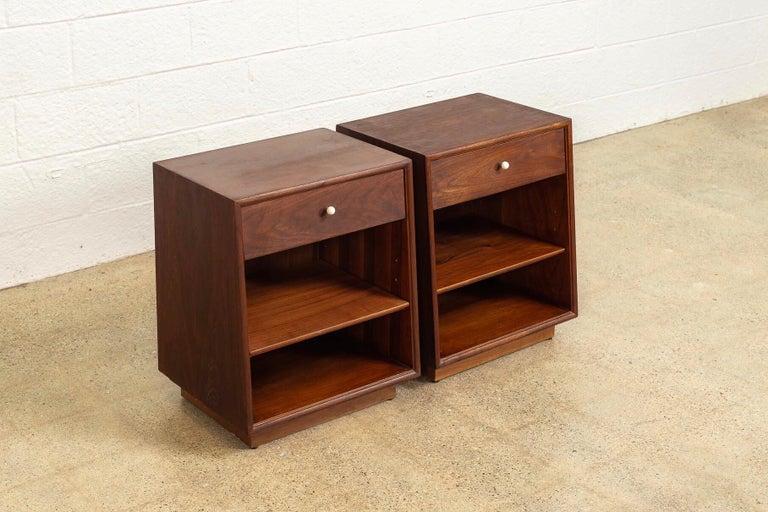 Mid-Century Modern Midcentury Kipp Stewart for Drexel Declaration Wood Nightstand Tables, a Pair For Sale