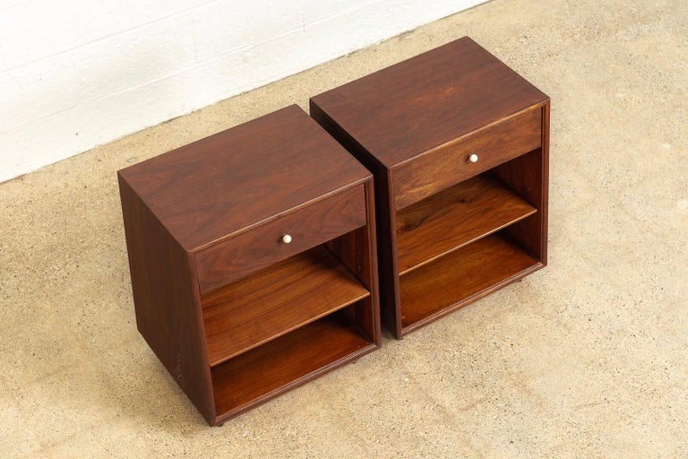American Midcentury Kipp Stewart for Drexel Declaration Wood Nightstand Tables, a Pair For Sale