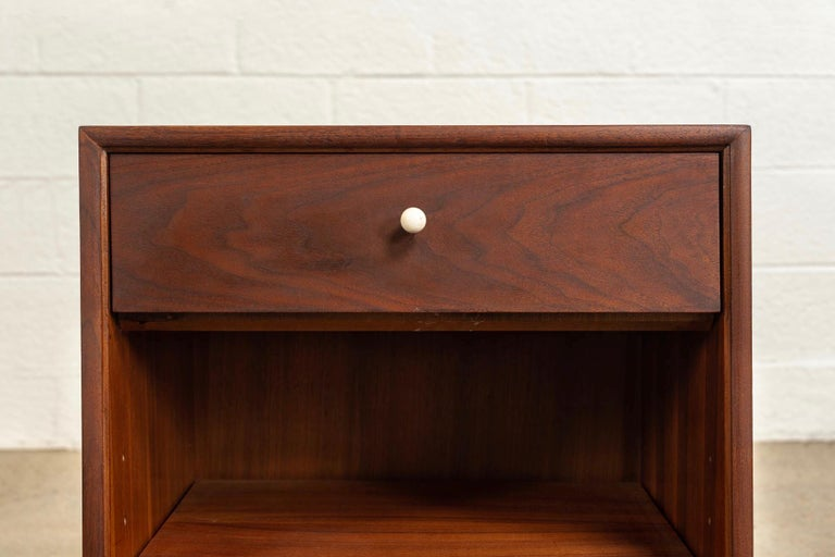 Porcelain Midcentury Kipp Stewart for Drexel Declaration Wood Nightstand Tables, a Pair For Sale