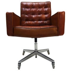 Midcentury Knoll Cognac Leather and Aluminum Task Chair by Vincent Cafiero
