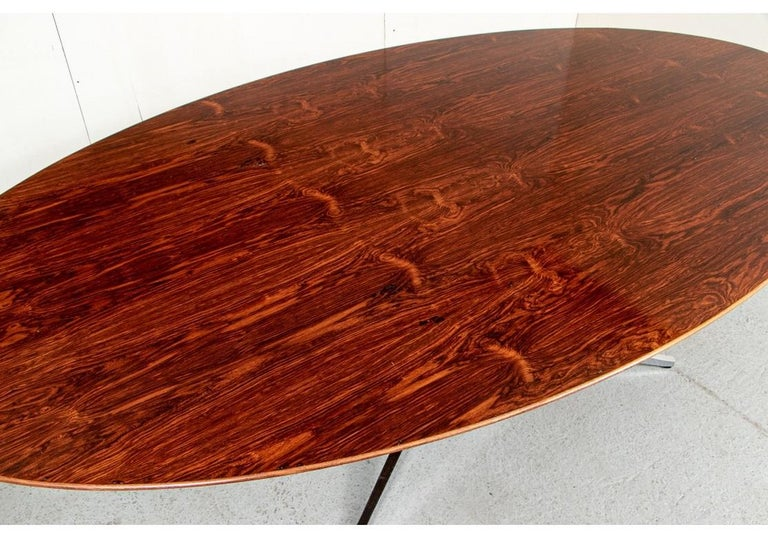 American Midcentury Knoll International Oval Zebra Wood Dining/ Conference Table For Sale