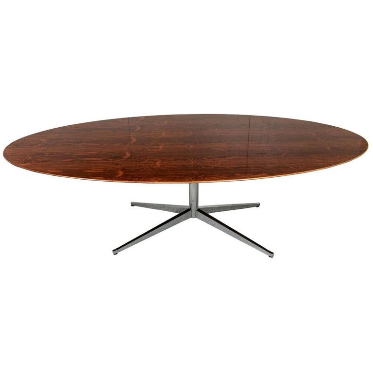 Midcentury Knoll International Oval Zebra Wood Dining/ Conference Table For Sale