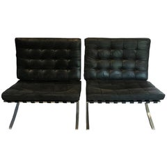 Midcentury Knoll Signed Pair of Mies Chairs