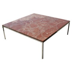 Midcentury Knoll Style Stainless Steel and Rojo Marble Coffee Table