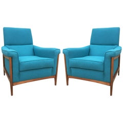 Midcentury Kroehler Upholstered Lounge Chairs